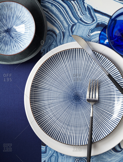 Plates with blue and white designs