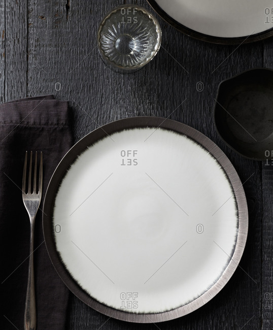 A black and white table setting