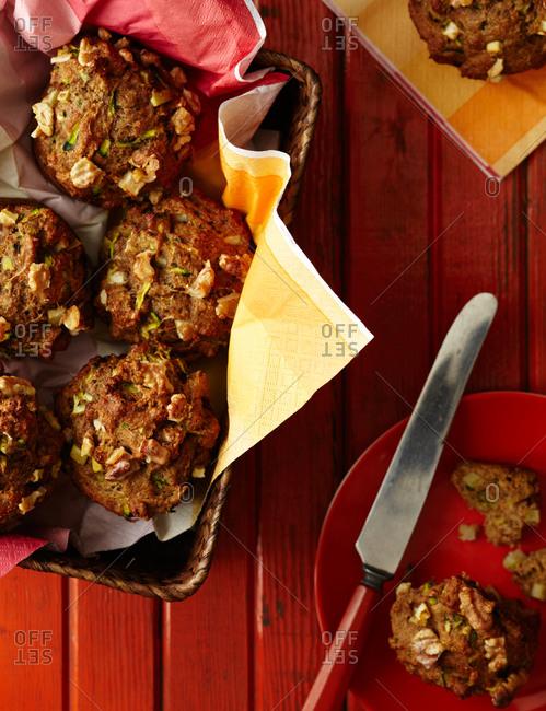 Zucchini nut muffins in a basket