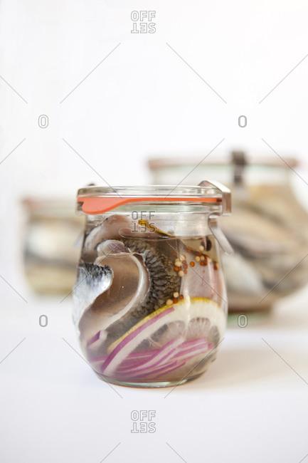 Jars of pickled herring