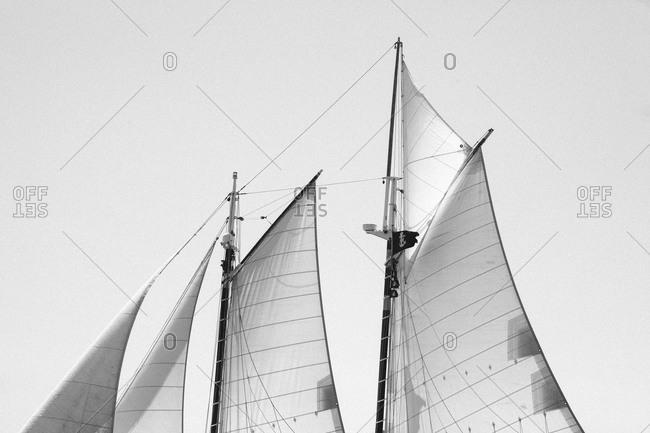 Unfurled sails on a sailboat