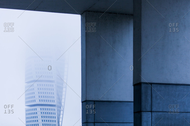 Malmo, Sweden - March 6, 2014: Turning Torso building on foggy day