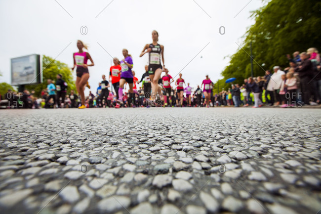 Female marathon racers at starting line