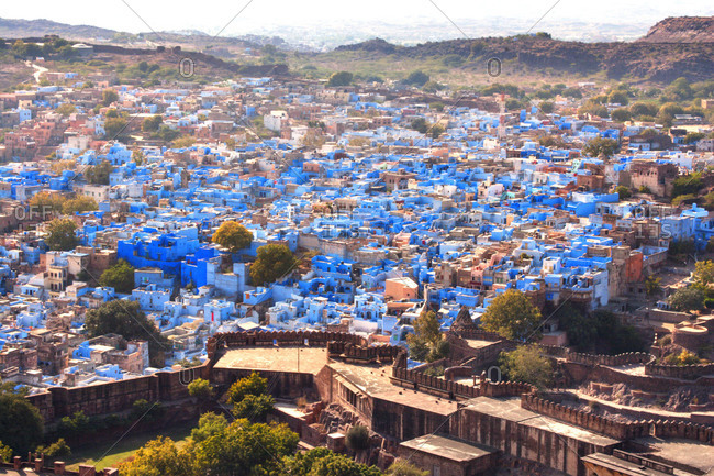 Blue buildings in village in India