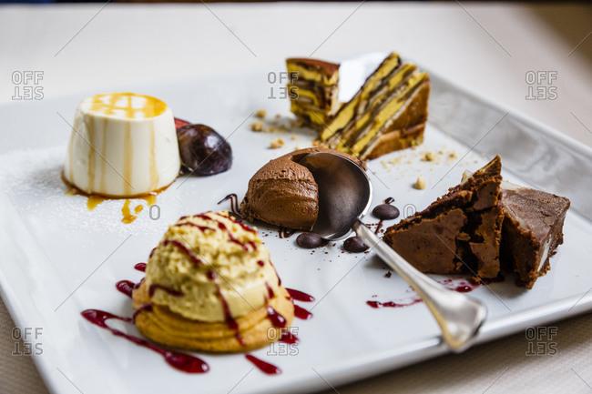 A dessert platter at a restaurant