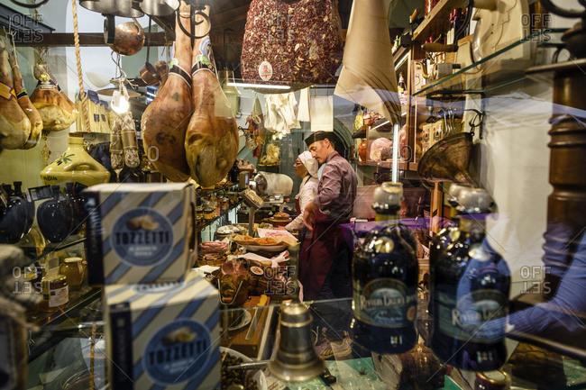 Genoa, Liguaria, Italy - October 23, 2013: A delicatessen in the old town, Genoa, Liguaria, Italy