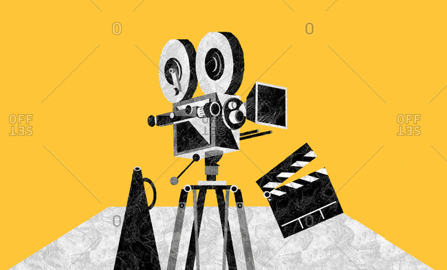 Movie camera and clapperboard