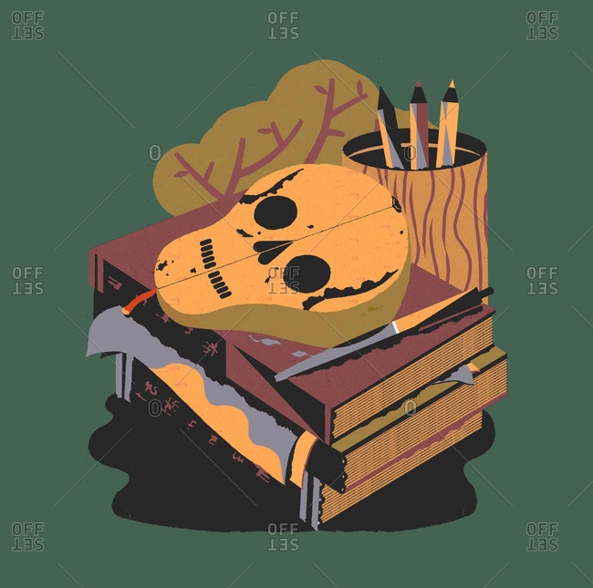 Books with a skull/pear above
