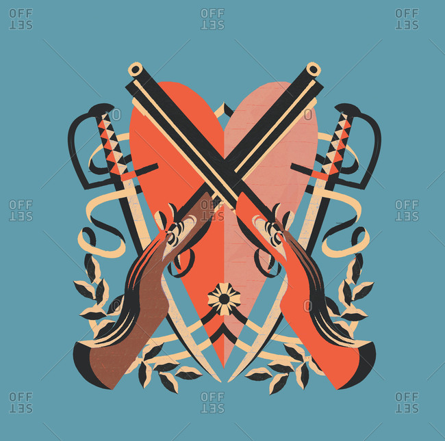 Heart with crossed swords and guns
