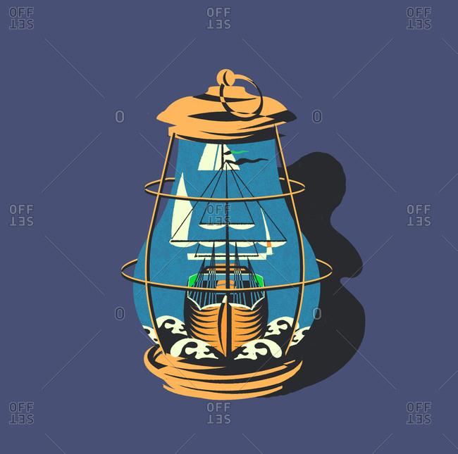 Ship inside a lantern