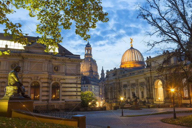 Dresden, Germany - October 30, 2014 - Academy of Fine Arts and Frauenkirche at dusk, Dresden, Germany
