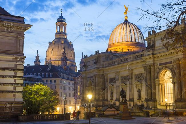 Dresden, Germany - October 30, 2014 - Academy of Fine Arts at dusk, Dresden