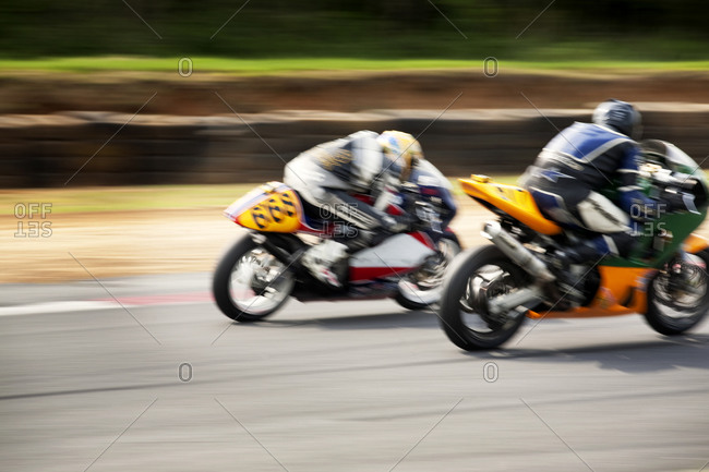 Motorcycles racing on track