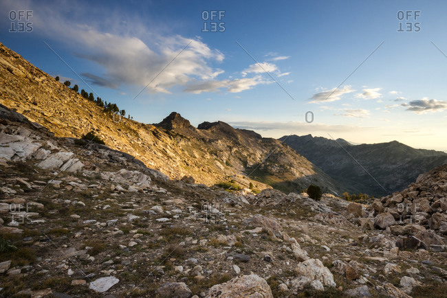 A view from Liberty Pass at sunrise looking into Lamoille Canyon in the Ruby Mountains near Elko, Nevada