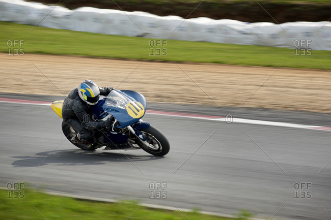 Motorcycle racing on track