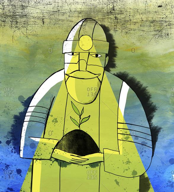 Illustration of man with headlamp and sapling