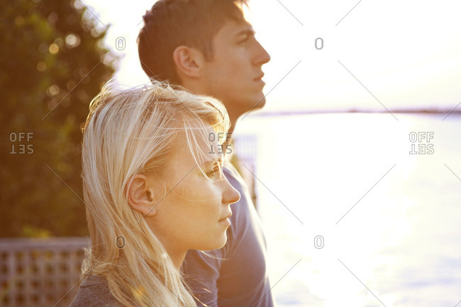 A couple looks into the distance