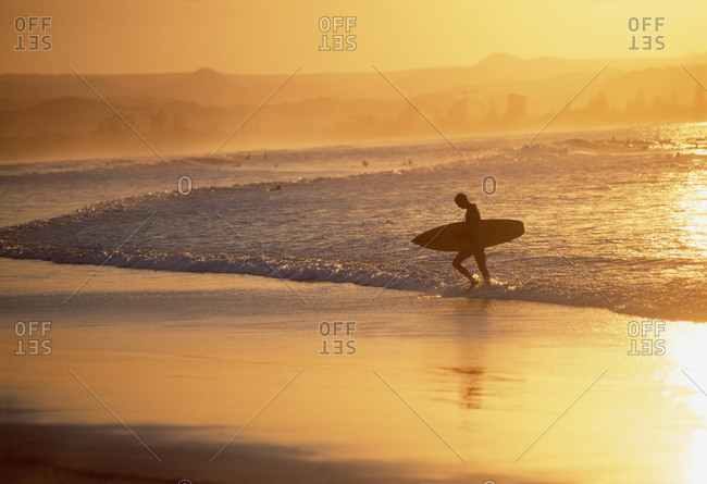 Australian surfer walking at sunset