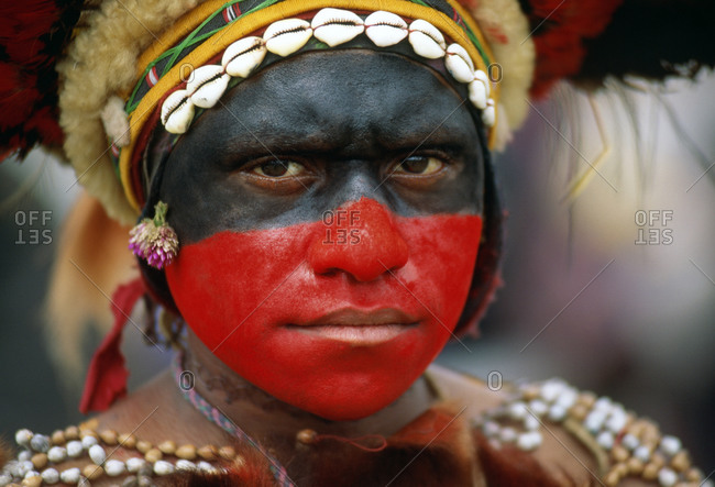 Mount Hagan, Papua New Guinea - December 19, 2014: Portrait of woman dressed for Sing Sing festival in Papua New Guinea