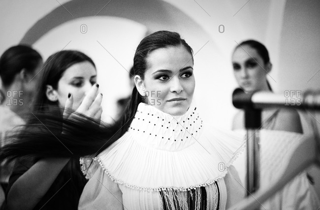 Sibiu, Transylvania, Romania - September 5, 2014: Runway model getting hair fixed