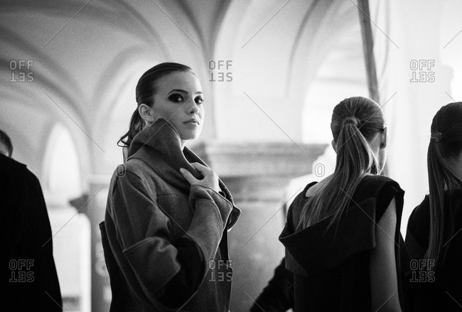 Sibiu, Transylvania, Romania - September 5, 2014: Runway models lined up backstage