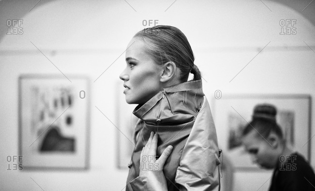 Sibiu, Transylvania, Romania - September 5, 2014: Runway model waiting to go on