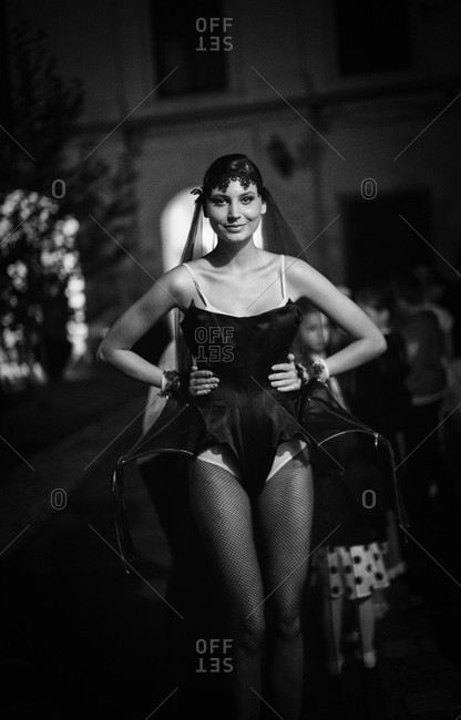 Sibiu, Transylvania, Romania - September 5, 2014: Model walking down runway in couture