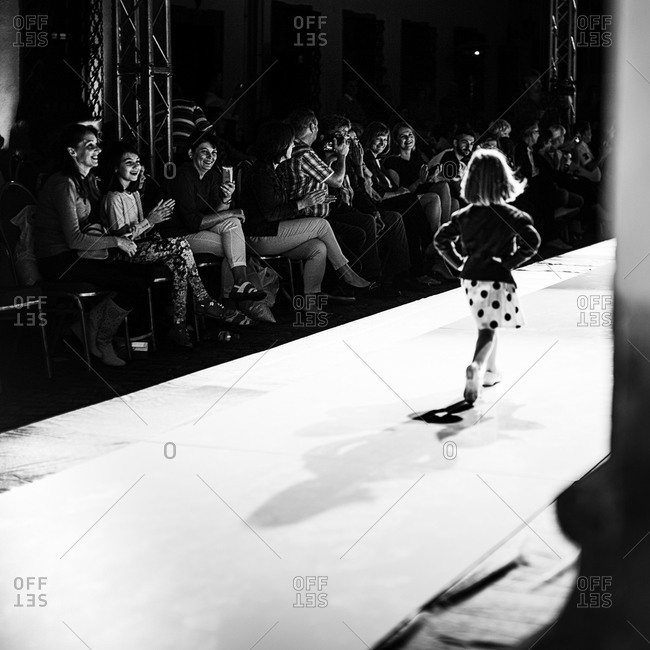 Sibiu, Transylvania, Romania - September 5, 2014: Child walking in runway show