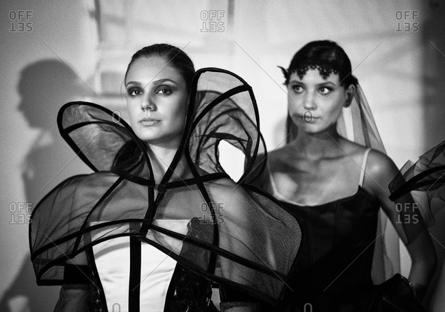 Sibiu, Transylvania, Romania - September 5, 2014: Model lined up for runway in avant garde couture