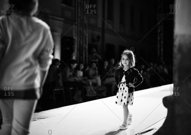 Sibiu, Transylvania, Romania - September 5, 2014: Girl walking in runway show