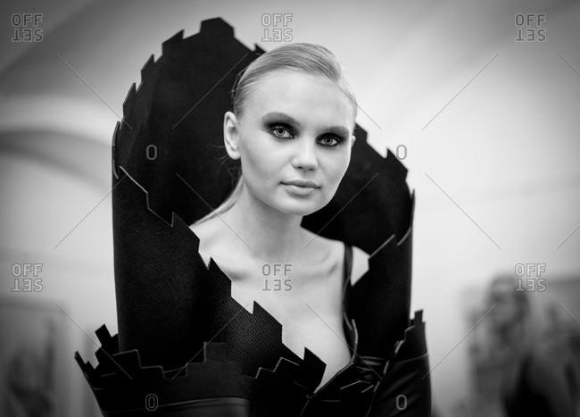 Sibiu, Transylvania, Romania - September 5, 2014: Model wearing avant garde couture