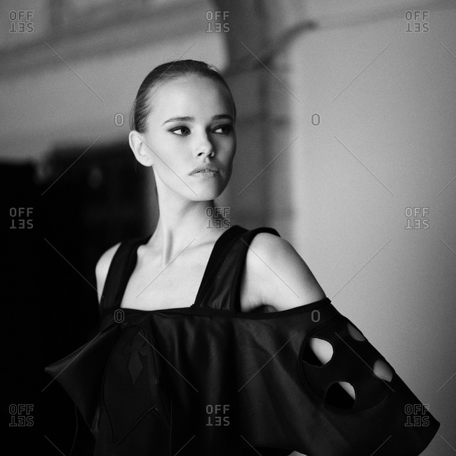 Sibiu, Transylvania, Romania - September 5, 2014: Model posing in clothing on runway