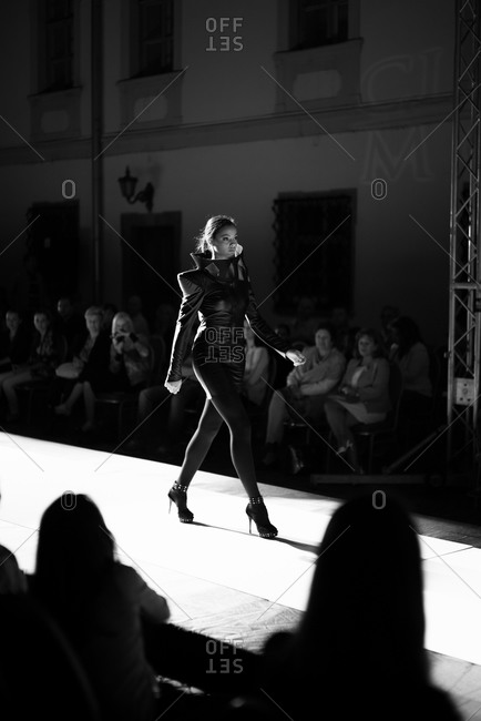 Sibiu, Transylvania, Romania - September 5, 2014: Model walking down runway in show