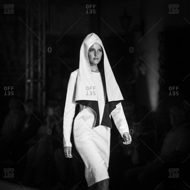 Sibiu, Transylvania, Romania - September 5, 2014: Model wearing couture during fashion show