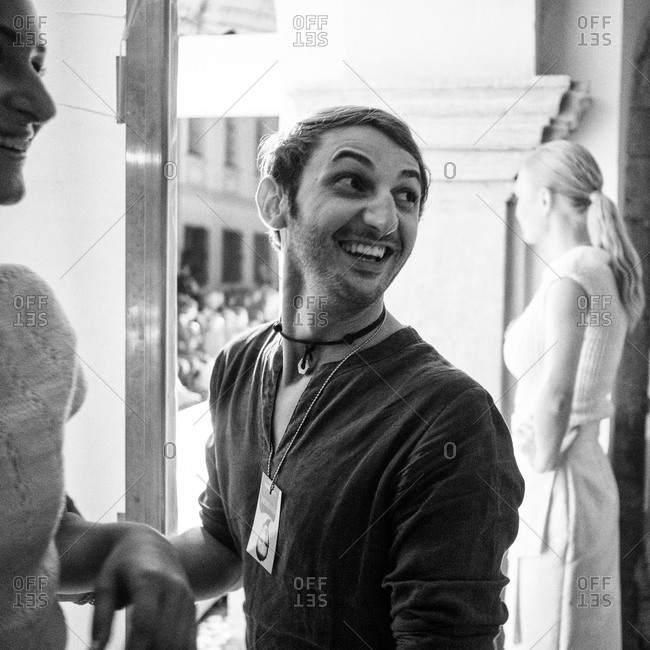 Sibiu, Transylvania, Romania - September 5, 2014: Assistant with model backstage