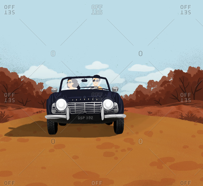 Illustration of man and woman in convertible