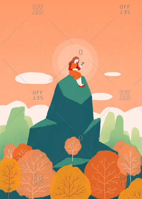 Illustration of woman on top of mountain with phone