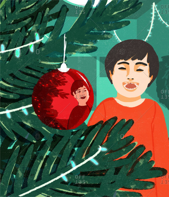 Illustration of boy reflected in Christmas ornament
