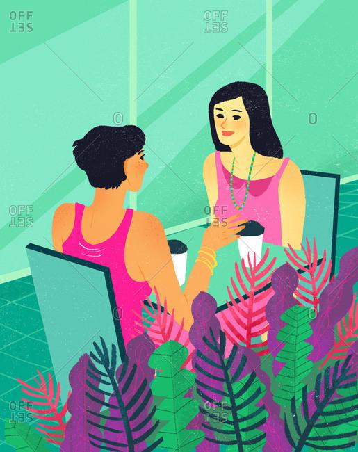 Illustration of two women having coffee