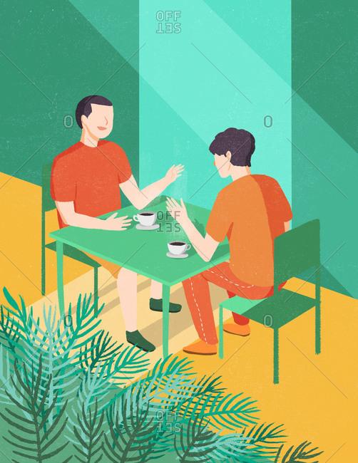 Illustration of two men having coffee
