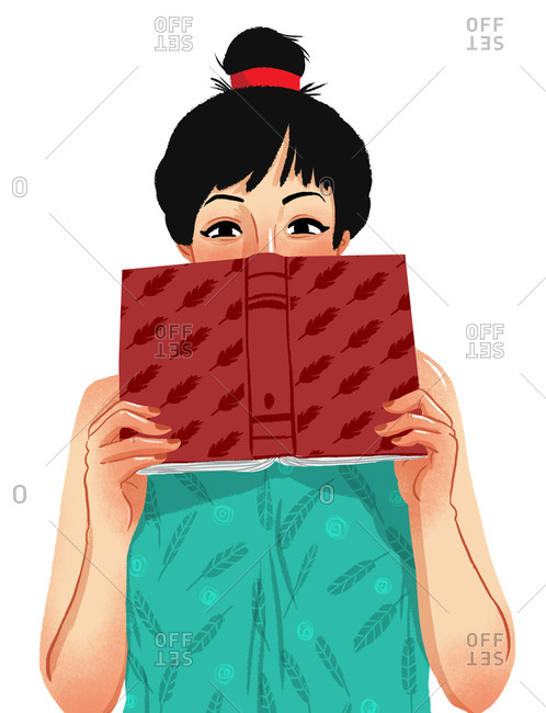 Illustration of woman hiding face with book