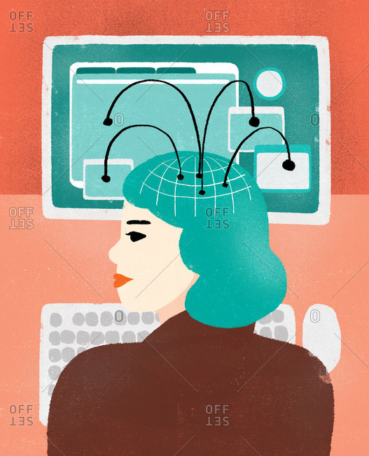 Illustration of woman at computer connected