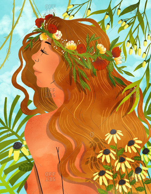 Illustration of naked woman among flowers