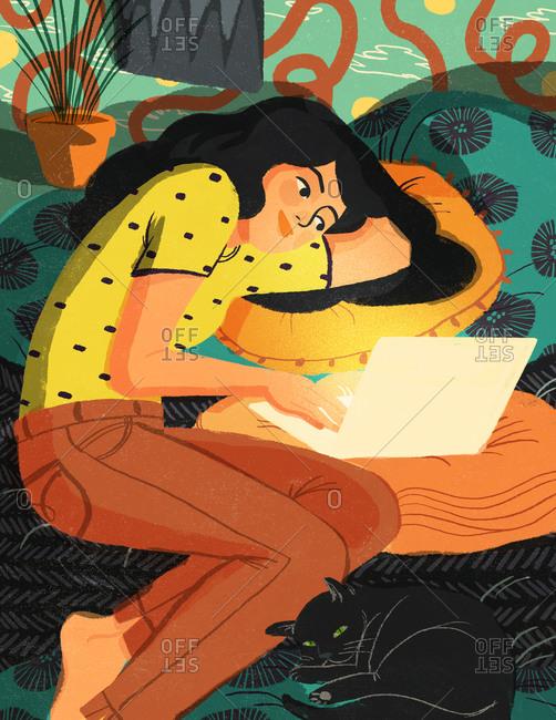 Illustration of teen girl reading book