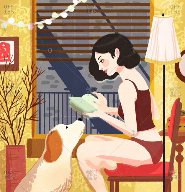 Illustration of woman in underwear reading with dog