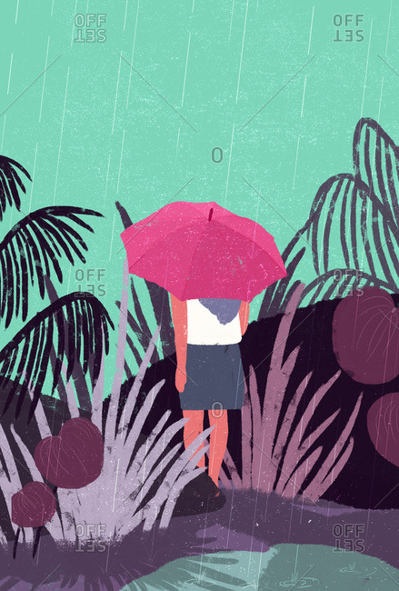 Illustration of woman walking in rain with umbrella