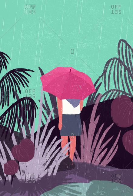 Illustration of woman walking in rain with umbrella