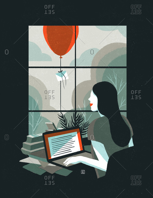 Illustration of woman at computer with red balloon