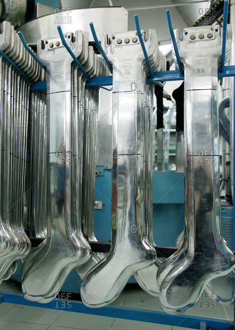 Rows of sock molds at a sock factory