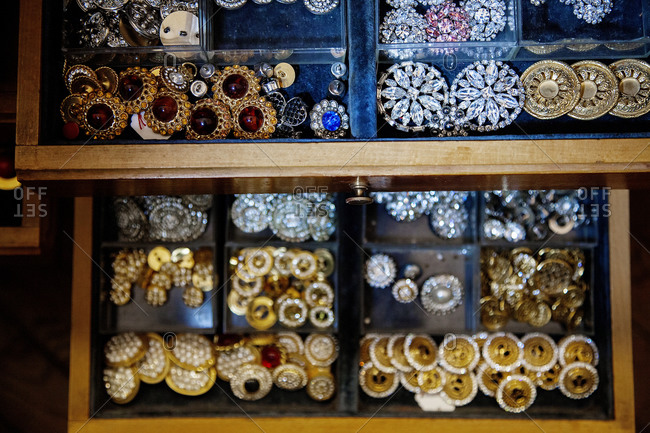 Buttons in a button factory in Milan, Italy